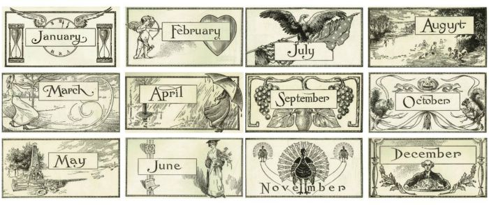 back to school antique calendar graphics