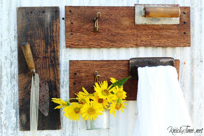 old tools wall hooks
