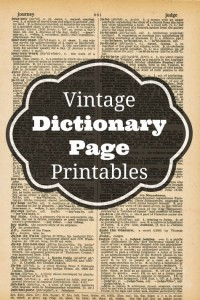 Vintage Dictionary Page Printables