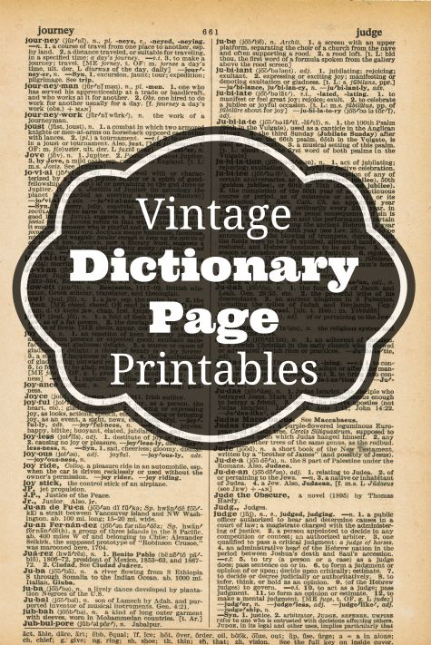 vintage dictionary pages