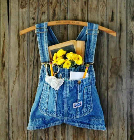 Repurposed Denim Overalls Wall Pocket - KnickofTime.net