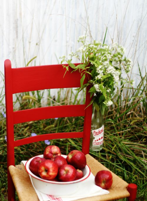 apple red chair makeover - KnickofTime.net
