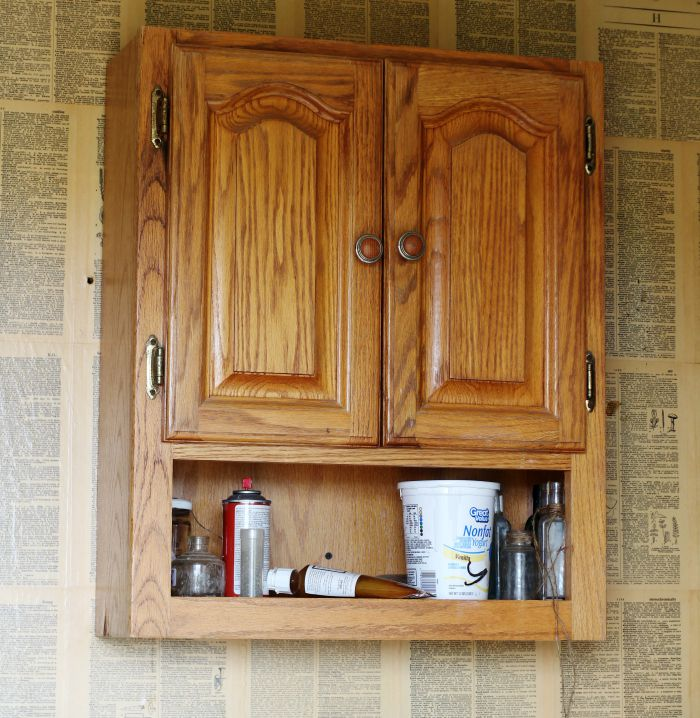 Upcycled white farmhouse cabinet knick of time for Upcycled kitchen cabinets