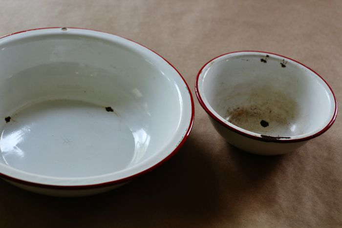 enamelware bowls for tiered stand