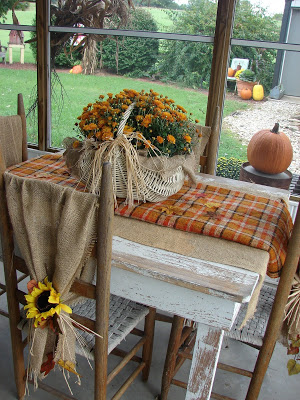 flannel table runner Autumn decor via KnickofTime.net