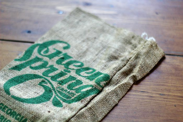 typography burlap bag