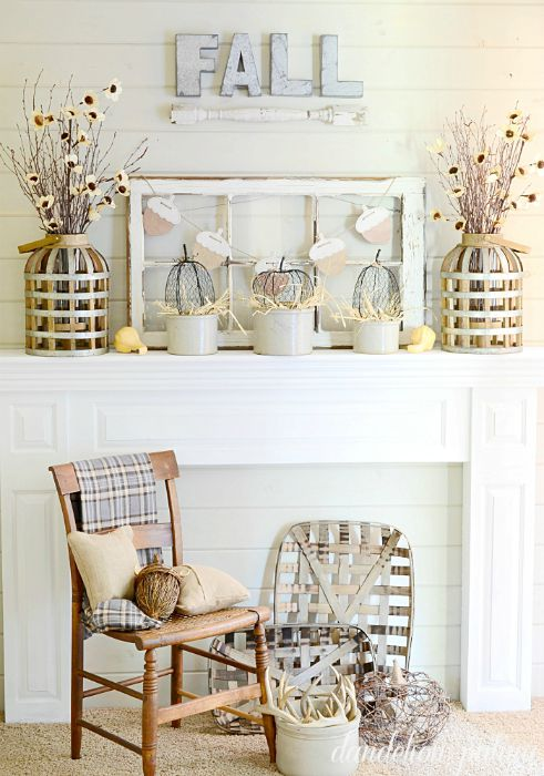 Neutral Fall Mantel - Vintage Inspiration Party at KnickofTime.net