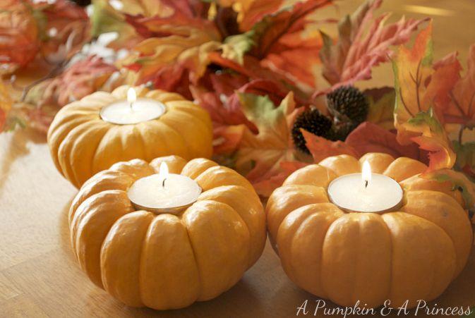 Farmhouse Friday Autumn decor pumpkin candles - KnickofTime.net