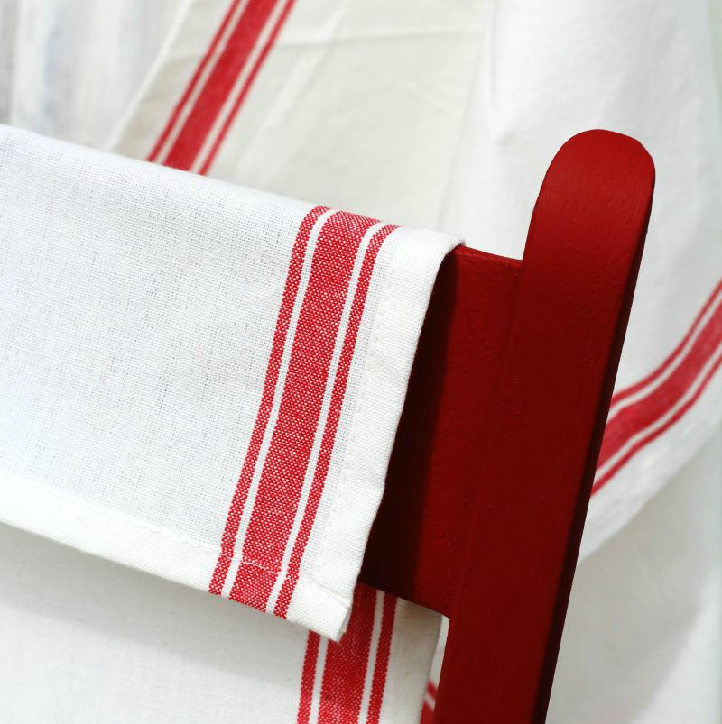 red stripe kitchen towels available from KnickofTime.net