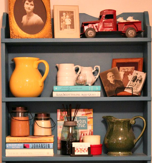 shelves with vintage decor