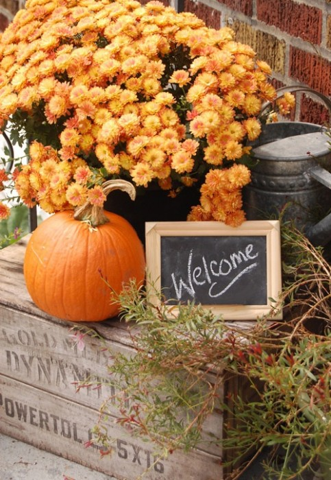 vintage crate mums autumn porch decor - KnickofTime.net