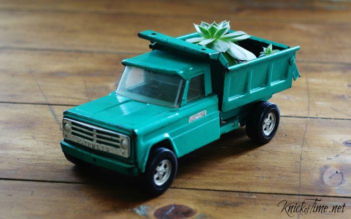 succulent planter repurposed toy truck