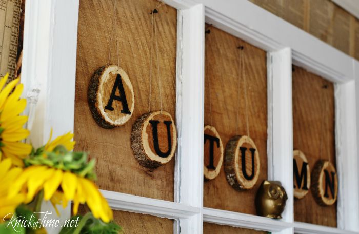 rustic autumn banner wood slice letters - KnickofTime.net