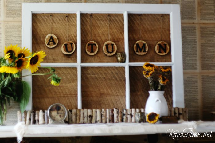 autumn mantel wood slice letters - KnickofTime.net