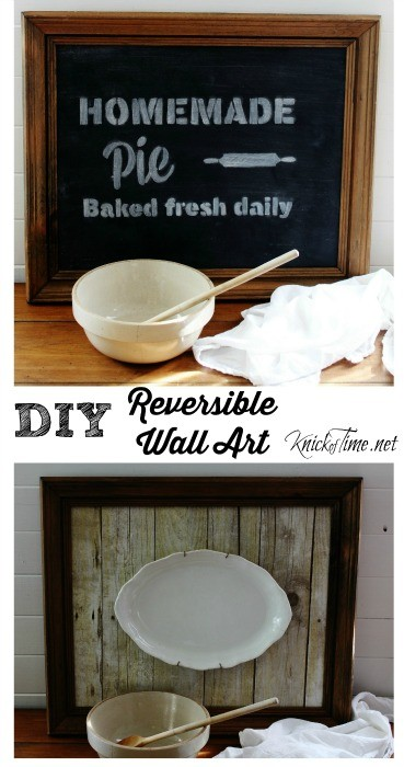Turn a thrift shop frame into double-sided Wall Art, with chalkboard art on one side, and a rustic wood look on the other side - Tutorial at KnickofTime.net