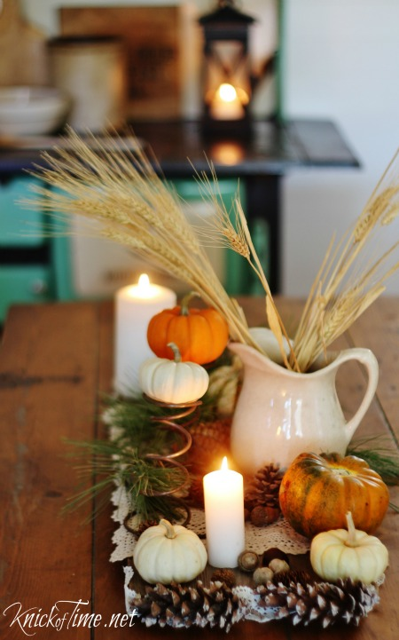 Rustic Natural Elements Fall Table Centerpiece - KnickofTime.net