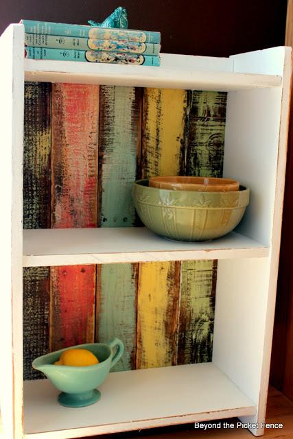 colorful rustic shelf