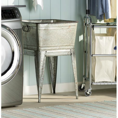 farmhouse style laundry room galvanized wash tub on stand