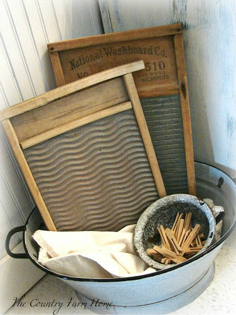 Antique Wash Board Laundry Room Decor