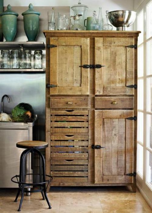 pallet wood kitchen cupboard