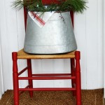 A Rustic Bucket and Metal Tags for Christmas