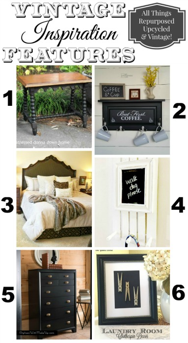 And now for my special features this week! 1)Black Corsican Table @ Distressed Donna Down Home 2) Cabinet Door Shelf with Hooks @ My Repurposed Life 3) Headboard Makeover - A Stroll Thru Life 4) Chalkboard Peg Hooks @ Homeroad 5) Tallboy Dresser Makeover @ Orphans With Makeup 6) Laundry Room Decor @ Our Gilded Abode