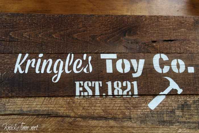 Make a Santa inspired rustic sign pallet wood Christmas tray using Knick of Time's Vintage Sign Stencils KnickofTime.net