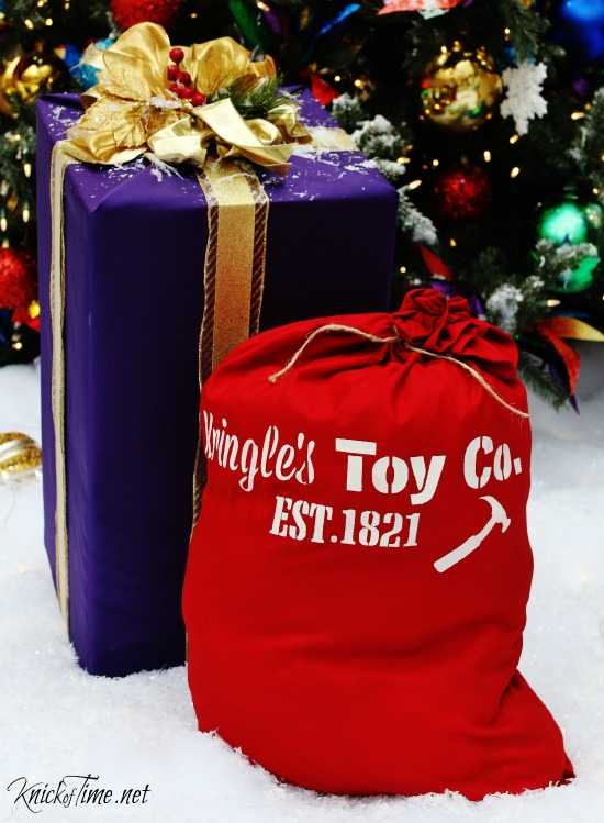 DIY Santa's Toy Bag Gift Sack with KnickofTime's Vintage Sign Stencils - KnickofTime.net