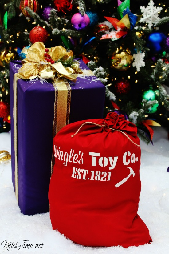 Make a Santa's Toy Sack Gift Bag with Knick of Time's Vintage Sign Stencils - KnickofTime.net
