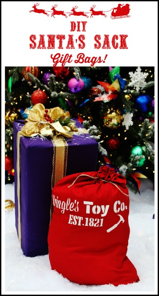 Easy DIY Santa's Sack Gift Bag with KnickofTime's Vintage Sign Stencils - KnickofTime.net