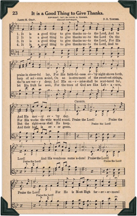 Thanksgiving Song Printable - It is a Good Thing To Give Thanks - KnickofTime.net