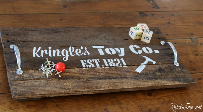 old fashioned toys on wooden handled tray with KnickofTime's Vintage Sign Stencils - KnickofTime.net
