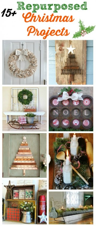 Farmhouse FridayRepurposed Christmas Decor using Salvaged and Junk Elements - KnickofTime.net