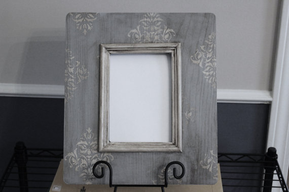 Smokey blue stencilled frame