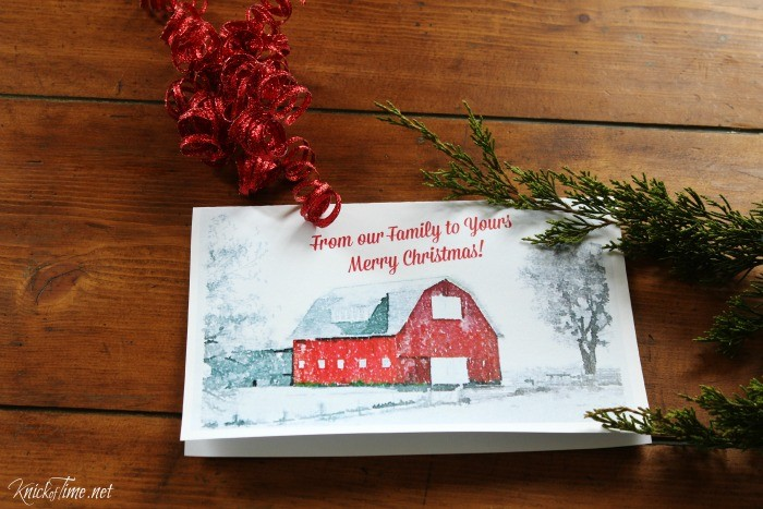 Watercolor Barn Printable Christmas Cards - KnickofTime.net