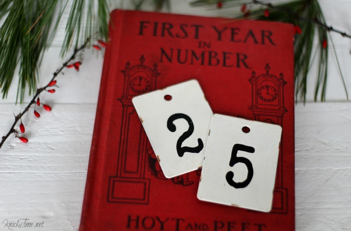 Antique Farmhouse number tags as vintage style Christmas decor | Knick of Time