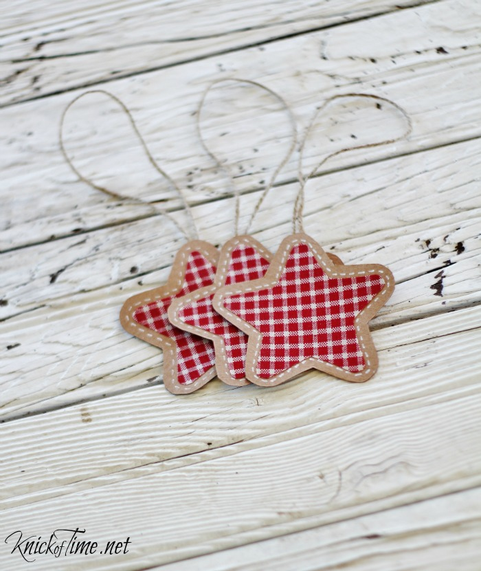 brown paper and gingham pen stitched ornaments - KnickofTime.net