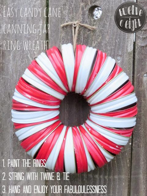 candy cane canning jar ring wreath