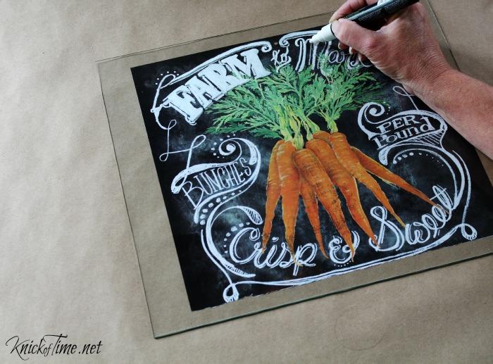 Turn art illustrations into easy chalkboard art on glass - KnickofTime.net
