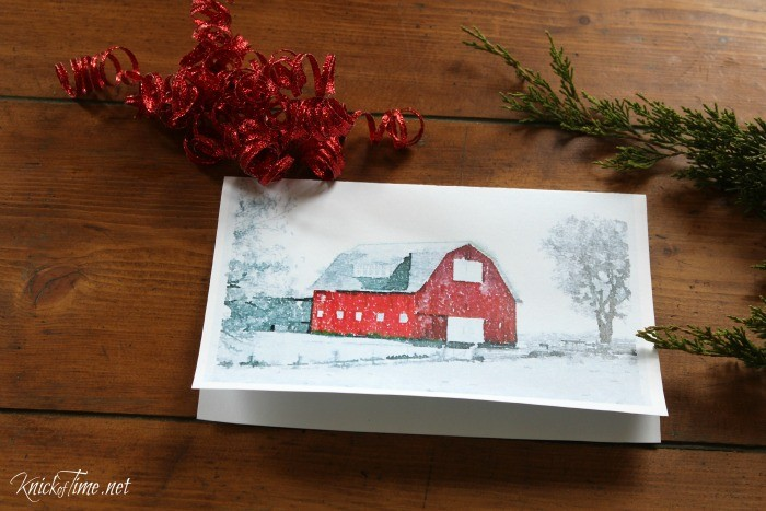 Old barn watercolor Christmas cardprintables - KnickofTime.net