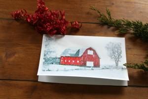 farmhouse watercolor Christmas cards - KnickofTime.net