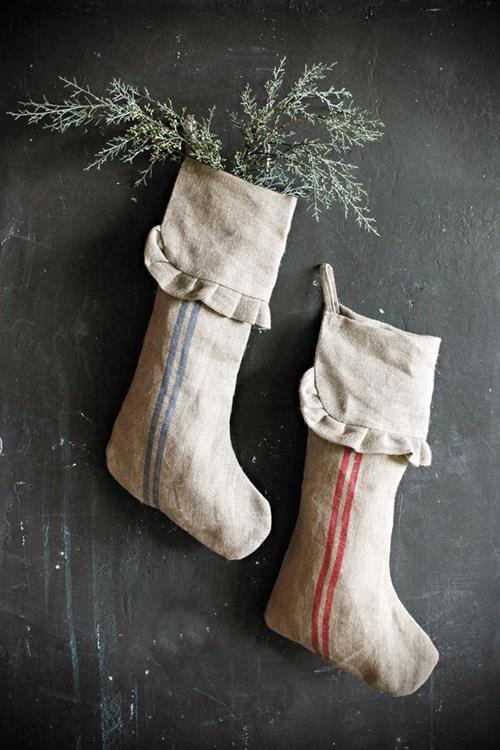 linen striped Christmas stockings