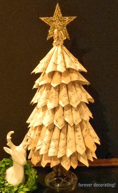 sheet music Christmas tree - Repurposed Christmas project ideas