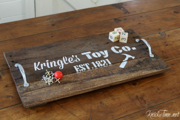 old fashioned toys on wooden handled stenciled tray - KnickofTime.net