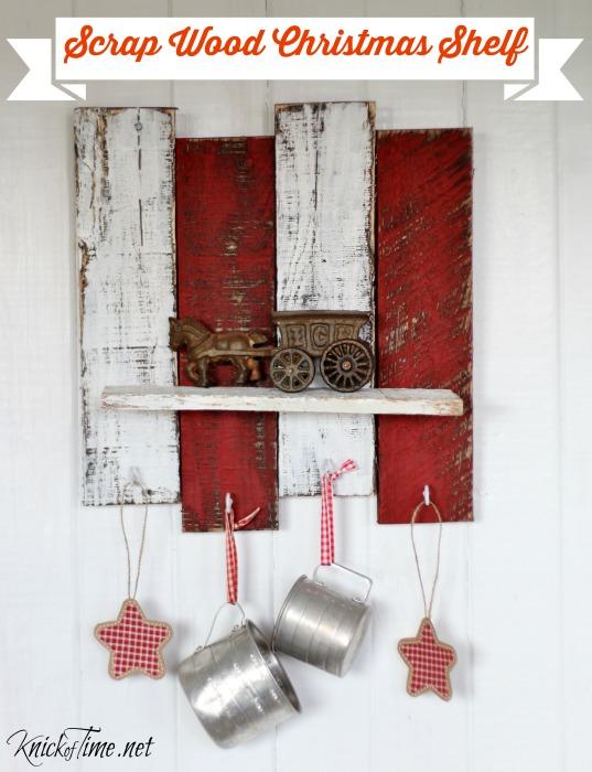 pallet wood Christmas shelf with hooks - KnickofTime.net