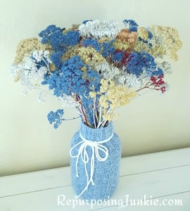 repurposed sweater jar vase