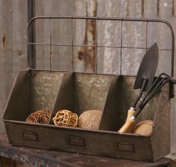rustic metal basket