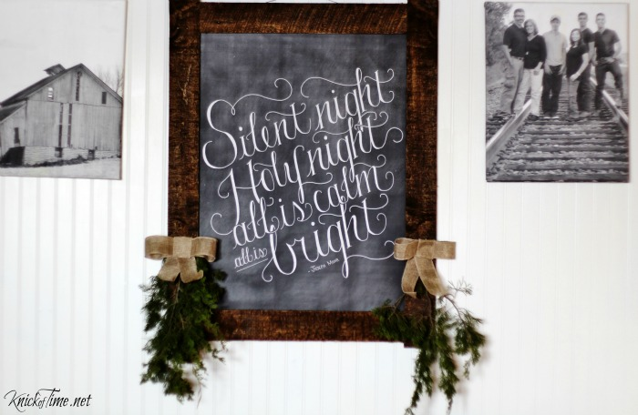 Dear Lillie Silent Night Christmas chalkboard art in a pallet wood frame - KnickofTime.net