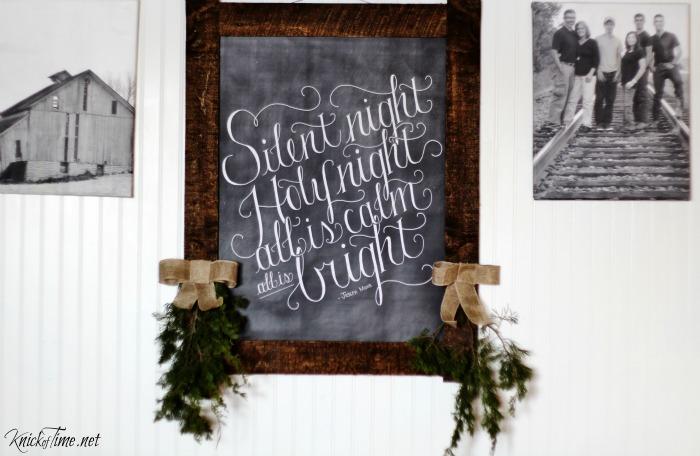 Dear Lillie Silent Night Christmas chalkboard art in a pallet wood frame - KnickofTime.net