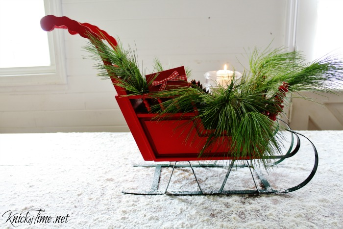 Upcycled Toy sleigh Christmas Decor - KnickofTime.net